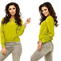 Женская стильная летняя блуза с  длинными рукавами с брошью., фото 1