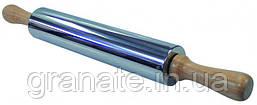 Скалка для теста из нержавеющей стали с деревянной ручкой