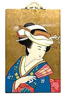 """Картина на дереве """"Японка"""""""
