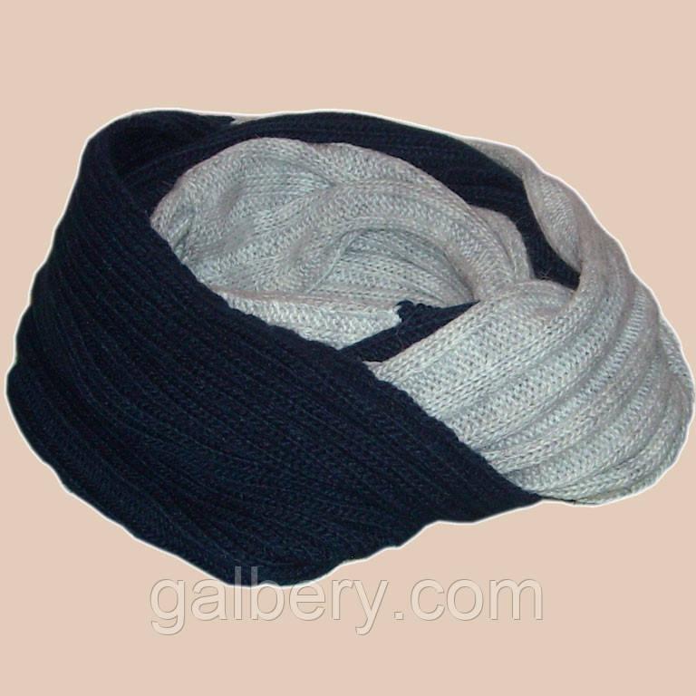 Вязаный шарф снуд синего и мраморного цвета