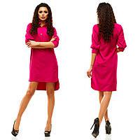 Женское платье-рубашка удлинённое сзади с рукавом 3/4, фото 1