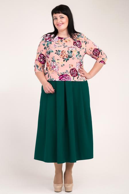 63904783efb Красивый женский костюм из юбки-миди и блузы с цветочным принтом. Размеры   52