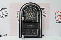 """Дверцы печные со стеклом """"Олени хром"""" 345х560. Дверцы для печи кухни барбекю"""