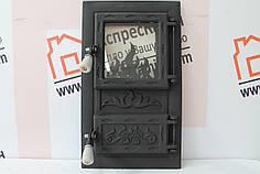 """Дверцы печные со стеклом """"Огонек черный"""" 310х520. Дверцы для кухни, барбекю"""