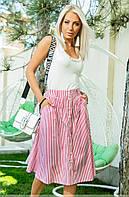 Женская летняя юбка в полоску красного цвета. Модель 18340. Размеры 42-46, фото 1