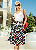 Женская летняя юбка синего цвета с принтом. Модель 18330. Размеры 42-46, фото 1