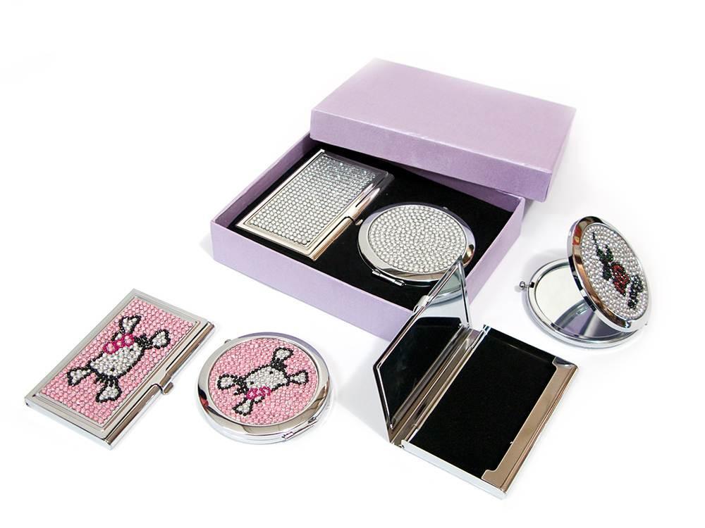 """Подарочный набор зеркальце с визитницей """"стразы"""" (15,5х12,5х3,5 см)"""