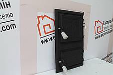 """Дверцы печные со стеклом """"Пальма прямоугольная """" Чугунная дверка для печи барбекю, фото 2"""
