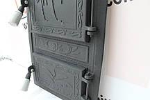 """Дверцы печные со стеклом """"Пальма прямоугольная """" Чугунная дверка для печи барбекю, фото 3"""