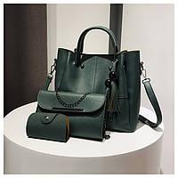 Набор сумок 3в1: сумка, клатч, визитница зеленый, фото 1