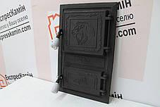 """Дверцы печные """"Лев"""" чёрный Чугунная дверка для печи барбекю, фото 3"""