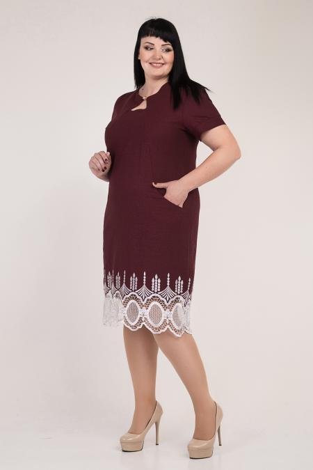 ea460c51dba Летнее льняное платье-батал бордового цвета