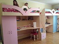 Детская кровать-чердак с рабочей зоной и шкафом (комплекс для двоих детей) (кл18) Merabel