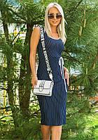 Женское летнее платье темно-синего цвета в полоску. Модель 18292