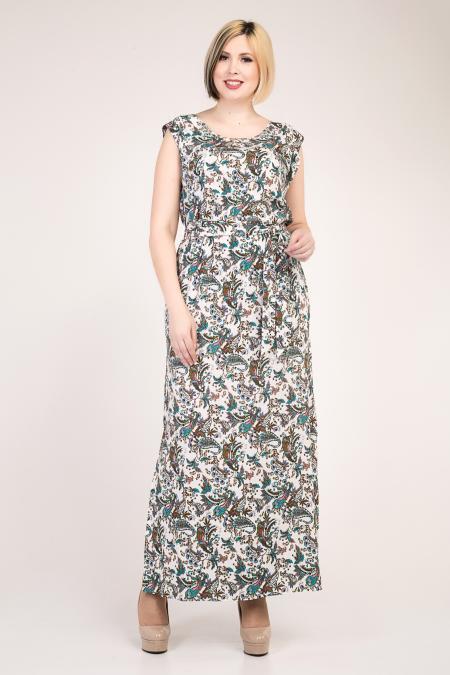 Летнее молодежное платье в пол, увеличенных размеров, с распорками по бокам