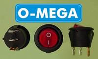 Кнопочный выключатель, Клавиша круглая, с подсветкой, 3 контакта с фиксацией, диаметр 20,3 мм., фото 1