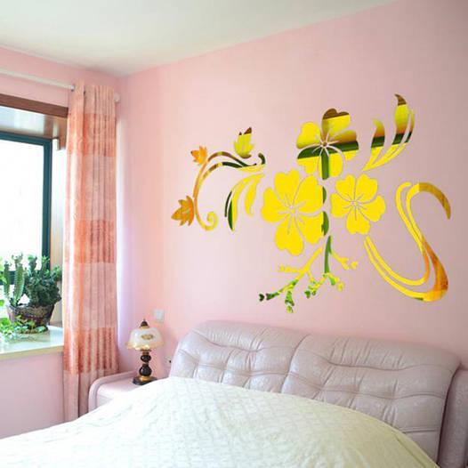 """Наклейка на стену акриловая золотая """"Цветок"""" (78х60 см)"""