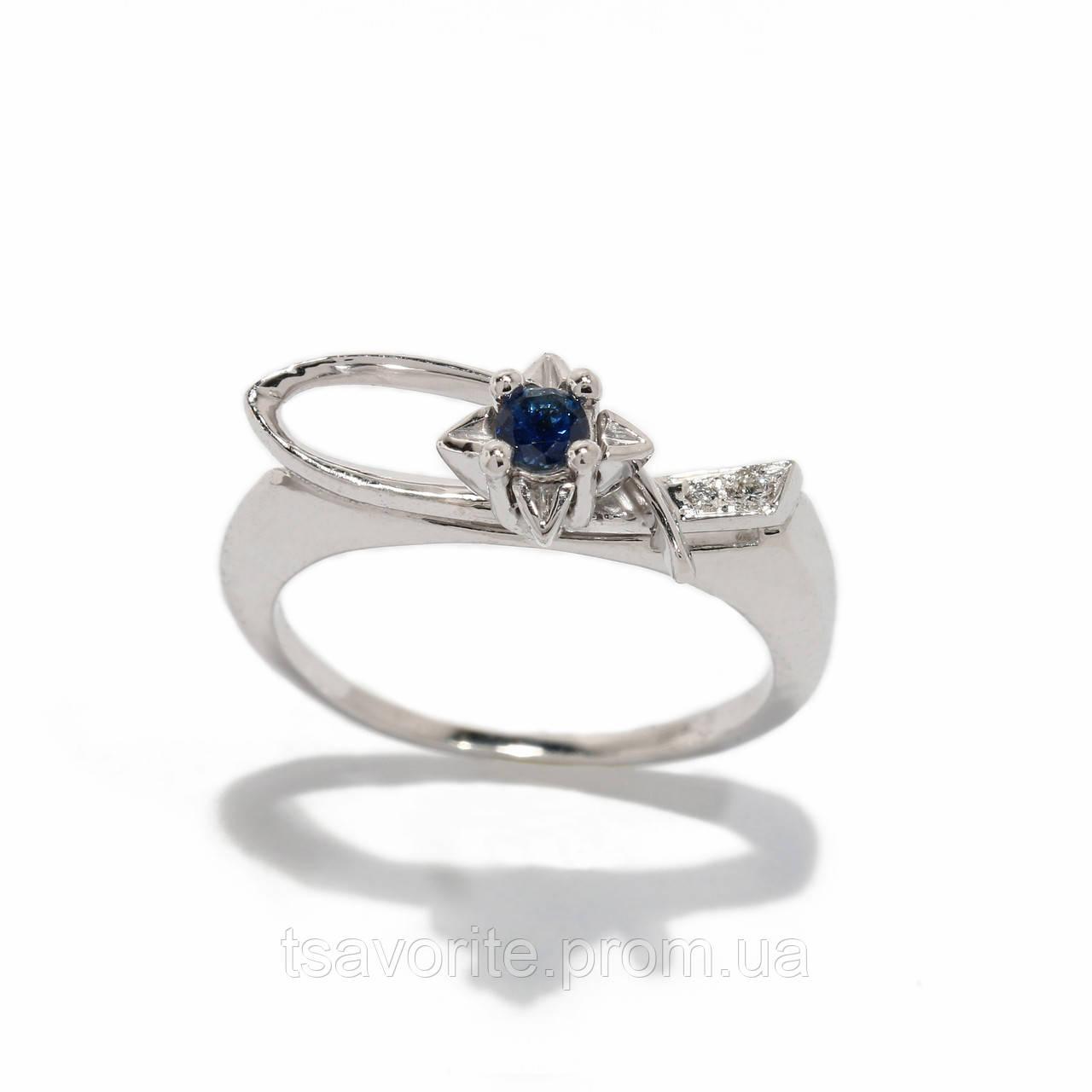 Золотое кольцо с сапфиром и бриллиантами 2231513