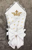 Летний  конверт-плед с вышивкой и кружевом Корона золотой