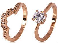 Кольцо двойное позолота Gold Filled 18р.