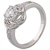 Кольцо белая позолота с цирконами размер 17