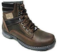 """Зимние мужские ботинки """"Max Mayar"""". Натуральный мех(Цигейка). Кожаные. Коричневые"""