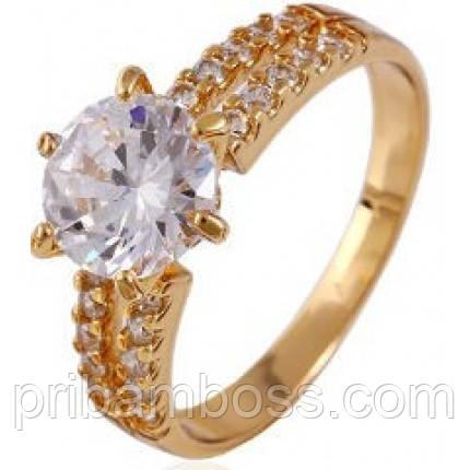 Кольцо позолота Gold Filled с цирконам Размер 17 и 18