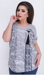Летняя женская футболка, батал, Турция, 445