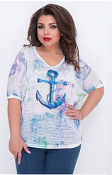 """Летняя женская футболка """"Морячка"""", батал, Турция,  691"""