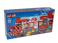 Конструктор пожарная часть, машина, фигурки, 109 деталей, в коробке