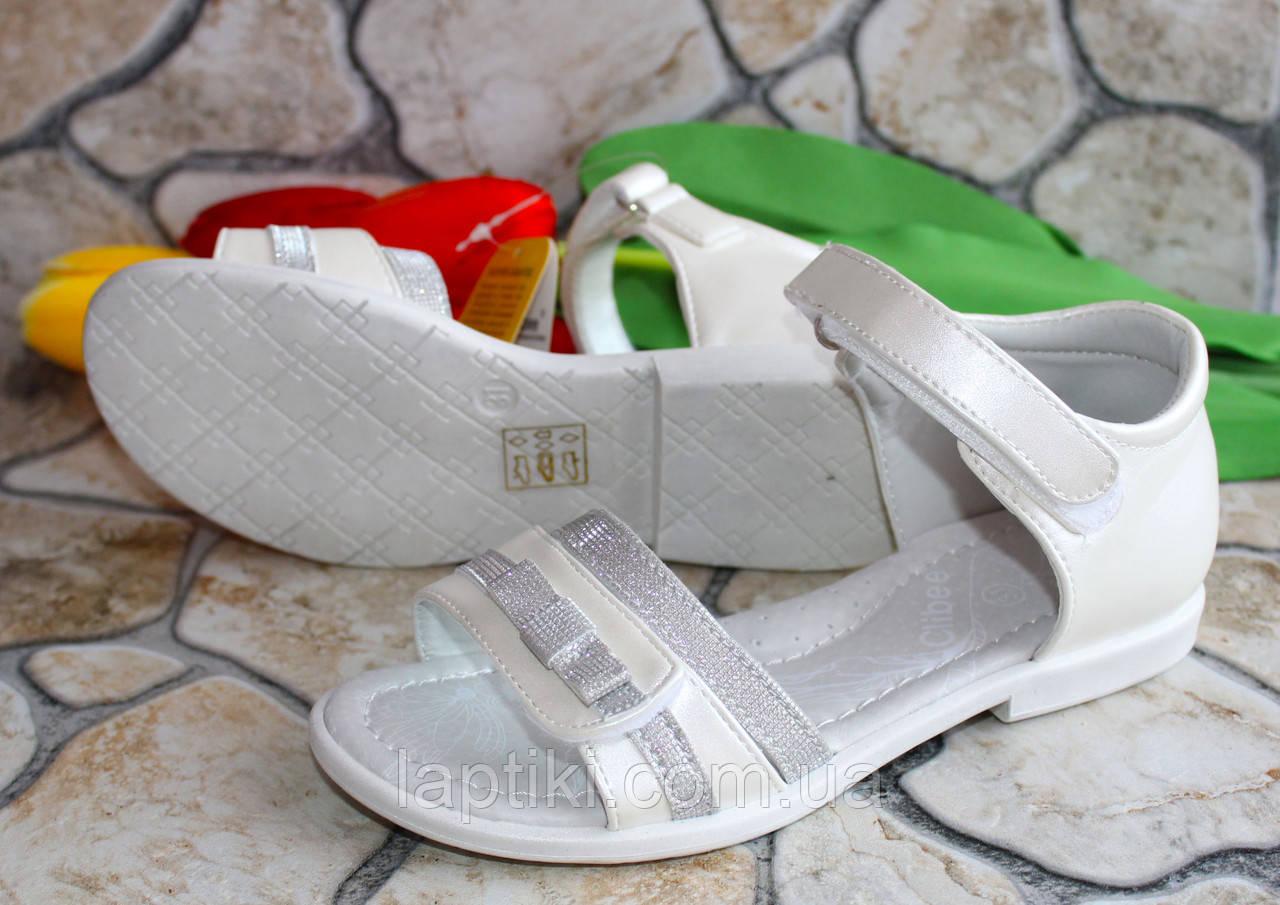 Подростковые белые босоножки  для девочки  фирмы Clibee (36 размер)