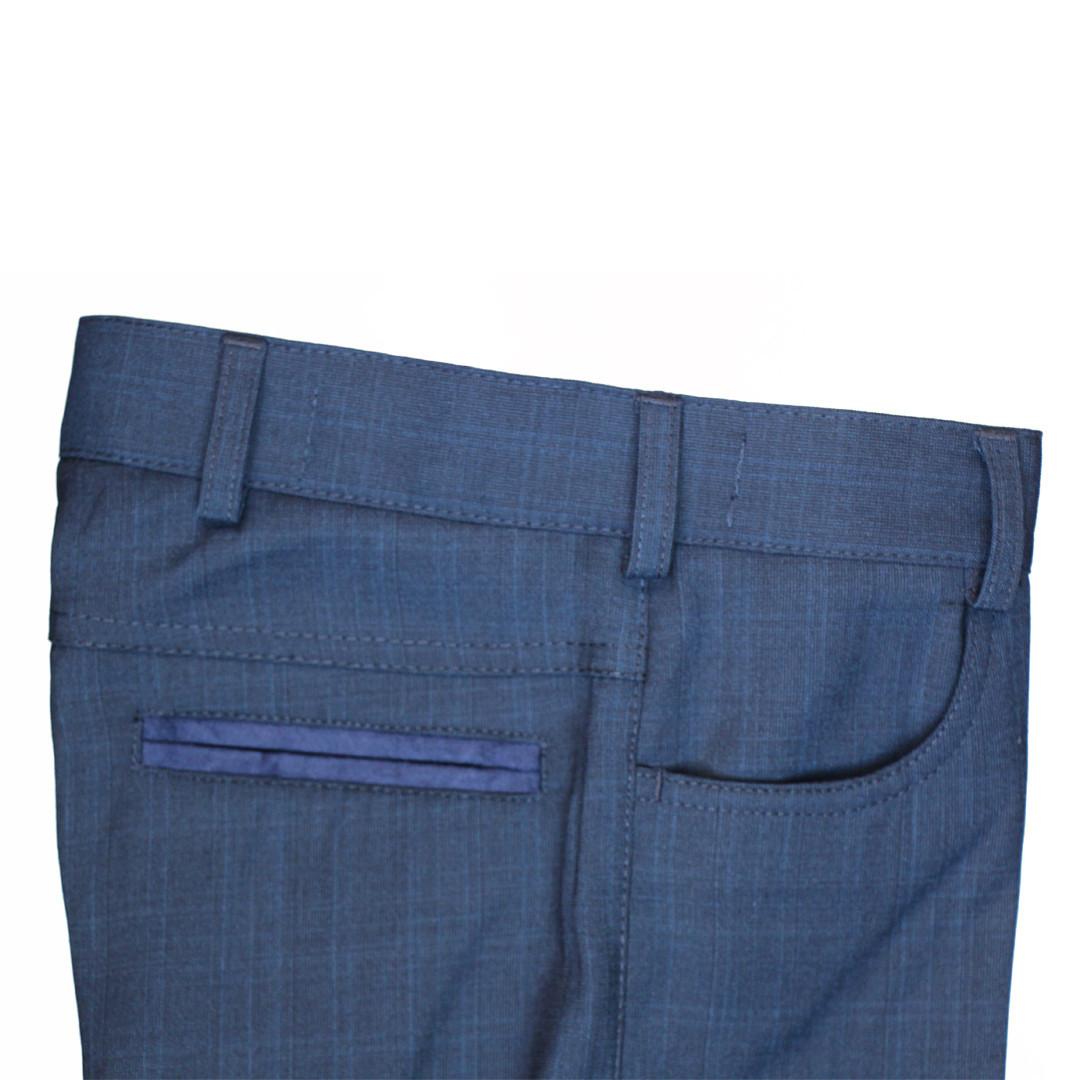 """Школьные брюки для мальчика 122-128 рост """"Ливерпуль""""  синие в широкую клетку"""