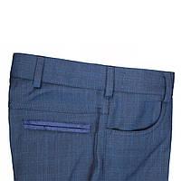 """Школьные брюки для мальчика """"Ливерпуль""""синие в широкую клетку"""