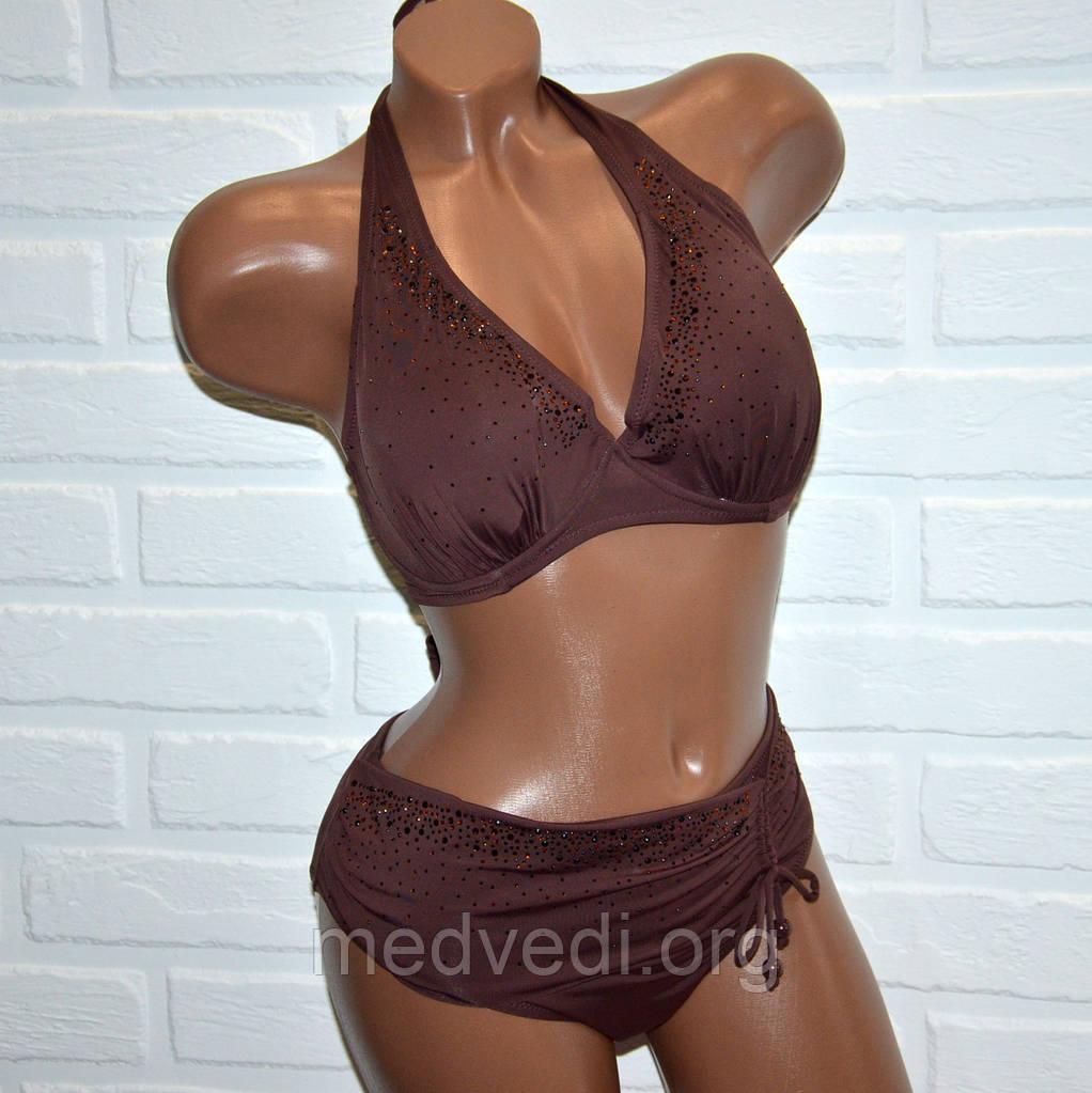 Большой 48 размер открытый коричневый купальник батал, раздельный, для женщин, с камнями, лиф с косточками