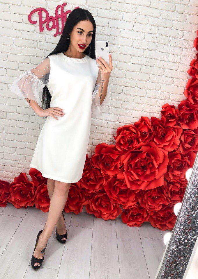 284d9843208b3f6 Нарядное, женское платье прямого кроя из креп дайвинга