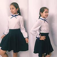 Детская подростковая блузка-рубашка с атласной бейкой, фото 1
