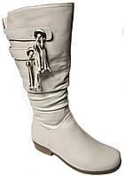 Зимние женские сапоги. Натуральный мех(цигейка) Кожаные. На низком каблуке