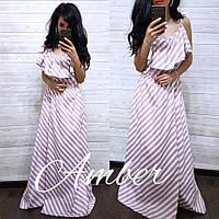Полосатое платье макси , фото 1