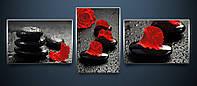 """Триптих """"Алая роза"""" схемы для вышивки бисером на атласе состоящие из трёх частей"""