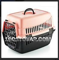 Контейнер-переноска для животных, розовый