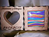 Рамка з сердцем для песочной церемонии. Свадебная рамка для песка. Сердце, квадрат, корона, фото 1