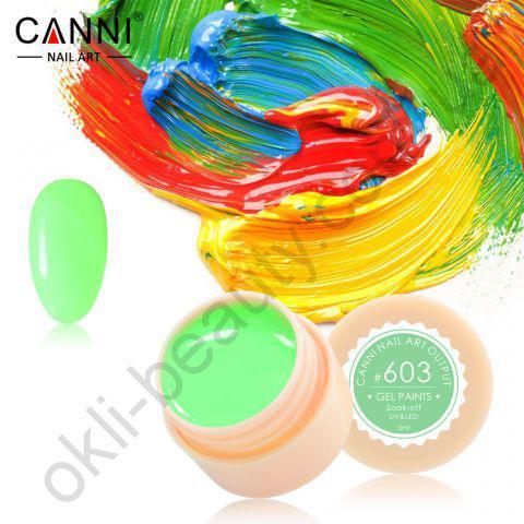 Гель-фарба Canni №603 (зелена м'ята), 5 мл