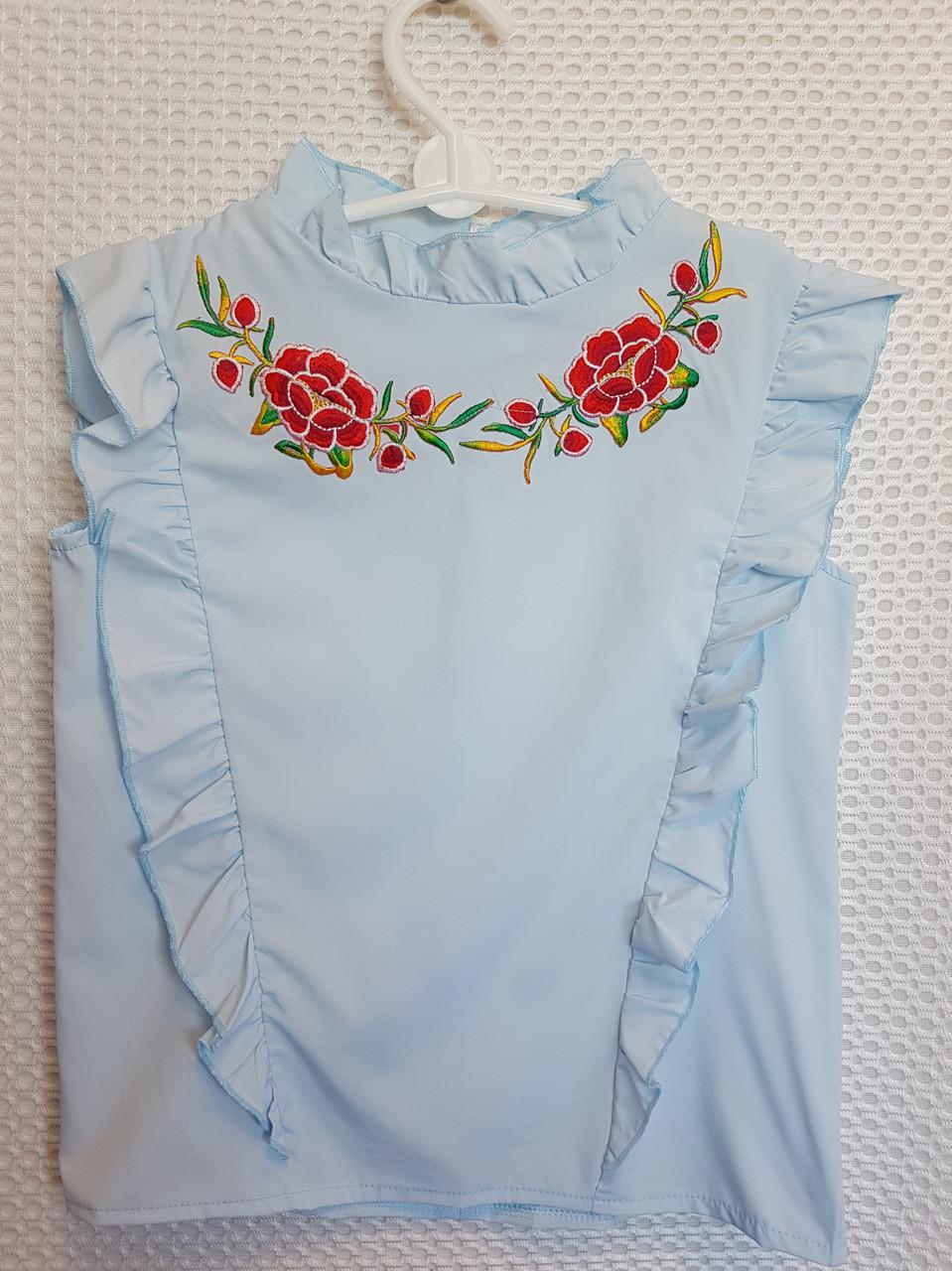 Блузка Анжелика  р.122-146 голубой