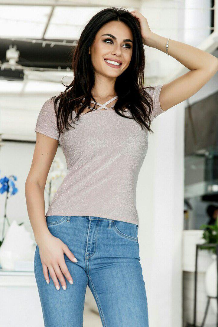 Женская футболка с люрексом  / 3 цвета  арт 5116-553