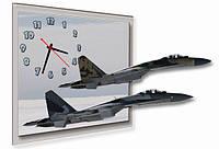 """Фигурные настенные часы """"Истребители""""  подарок лётчику"""