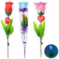 """Аксессуары для праздника """"Роза"""" 30см, свет, микс цветов, в пак. 31см(300шт)"""