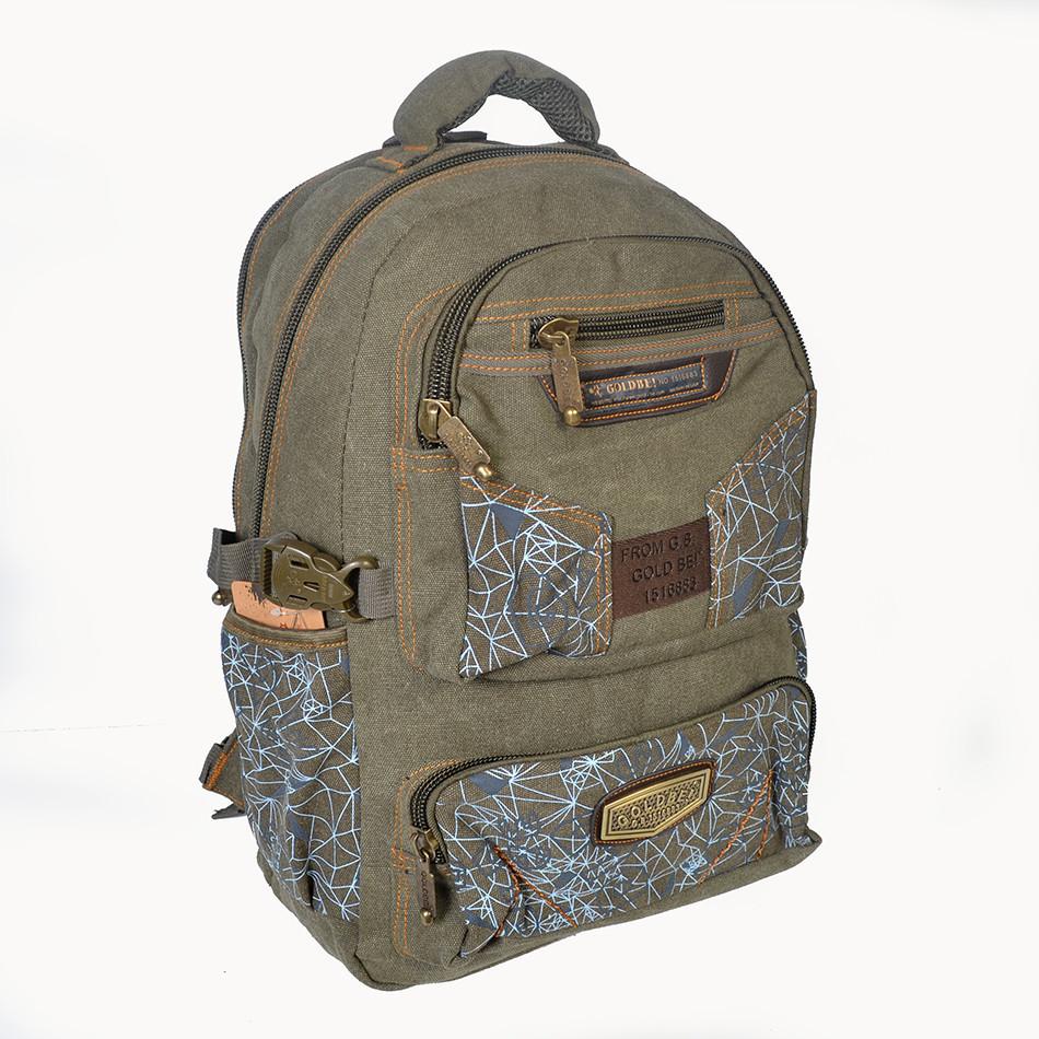 Джынсовый городской мужской рюкзак GOLD BE  B596  оливковый (43х25х18 см.  18 литров)