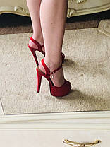 Босоножки женские на высокой шпильке замшевые красного цвета Код 516, фото 3