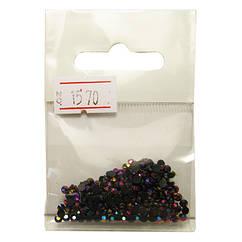 Камни Акриловые Черные с Розово-Фиолетовым Отливом для Ногтей в Наборе, размер 3 мм.