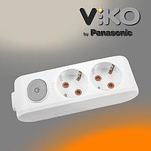 Колодка на 2 гнізда з заземленням та вимикачем Multi-let VIKO